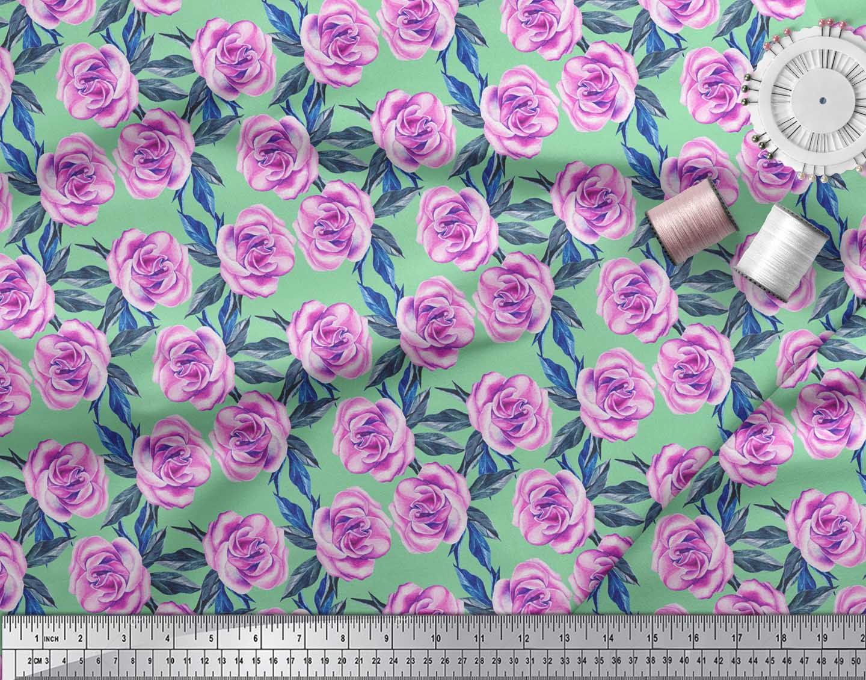 Soimoi-Green-Cotton-Poplin-Fabric-Leaves-amp-Begonia-Floral-Print-8vB thumbnail 4