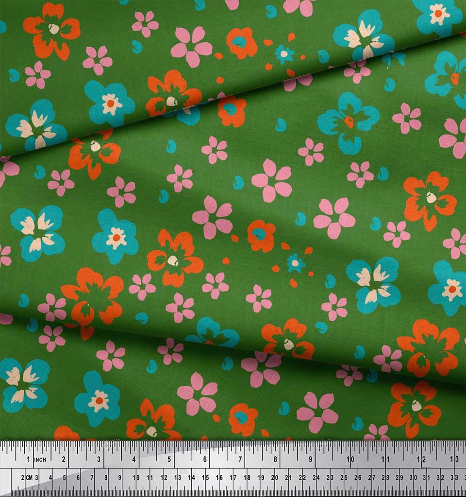 Soimoi-Green-Cotton-Poplin-Fabric-Artistic-Floral-Print-Fabric-by-EV7 thumbnail 3