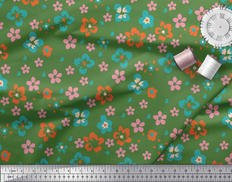 Soimoi-Green-Cotton-Poplin-Fabric-Artistic-Floral-Print-Fabric-by-EV7 thumbnail 4