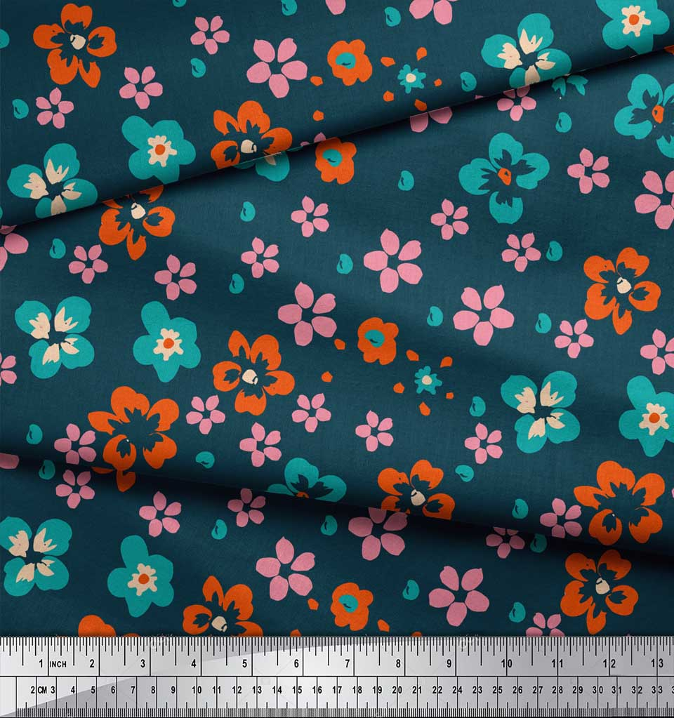 Soimoi-Blue-Cotton-Poplin-Fabric-Artistic-Floral-Printed-Craft-Fabric-HWv thumbnail 3