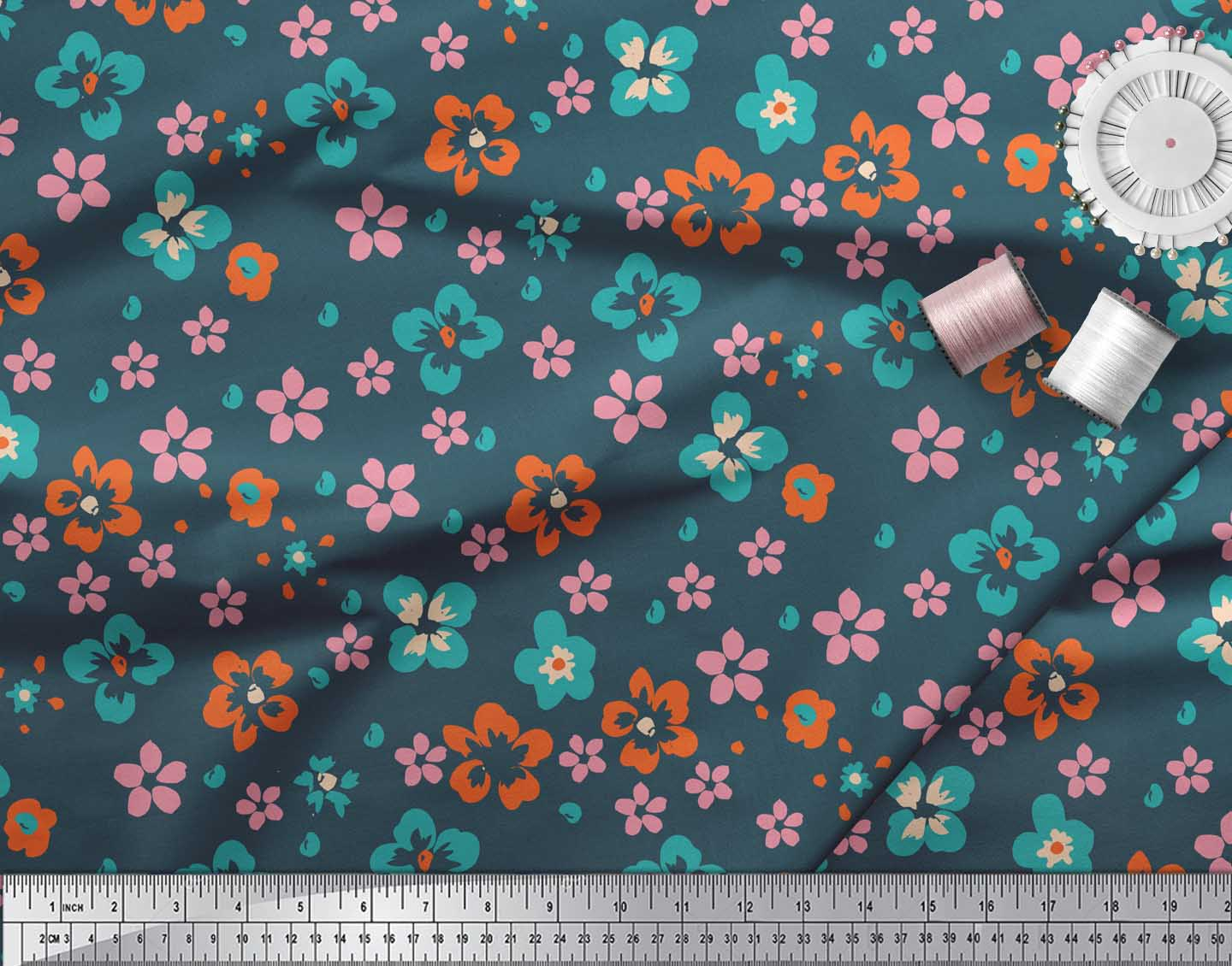 Soimoi-Blue-Cotton-Poplin-Fabric-Artistic-Floral-Printed-Craft-Fabric-HWv thumbnail 4