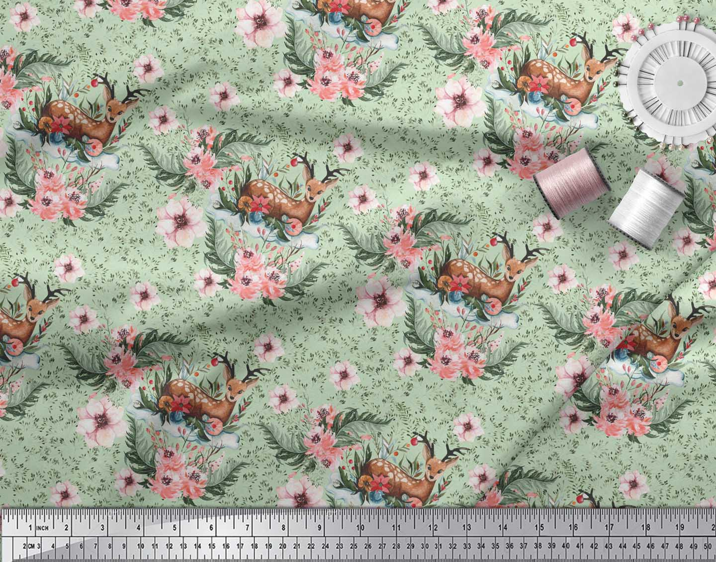Soimoi-Green-Cotton-Poplin-Fabric-Deer-amp-Magnolia-Floral-Fabric-DzE thumbnail 4