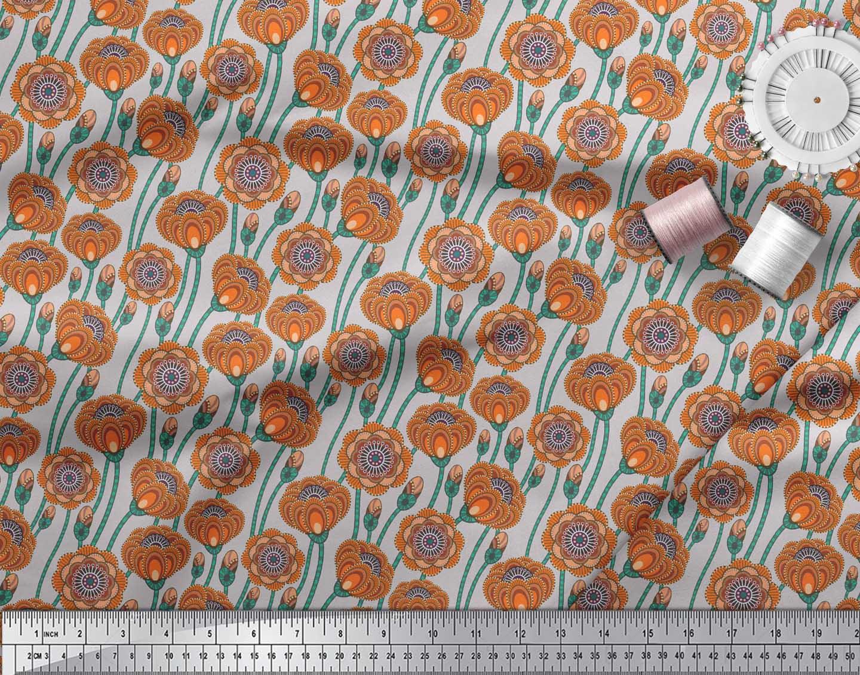 Soimoi-Grey-Cotton-Poplin-Fabric-Artistic-Floral-Print-Fabric-by-Wo9 thumbnail 3