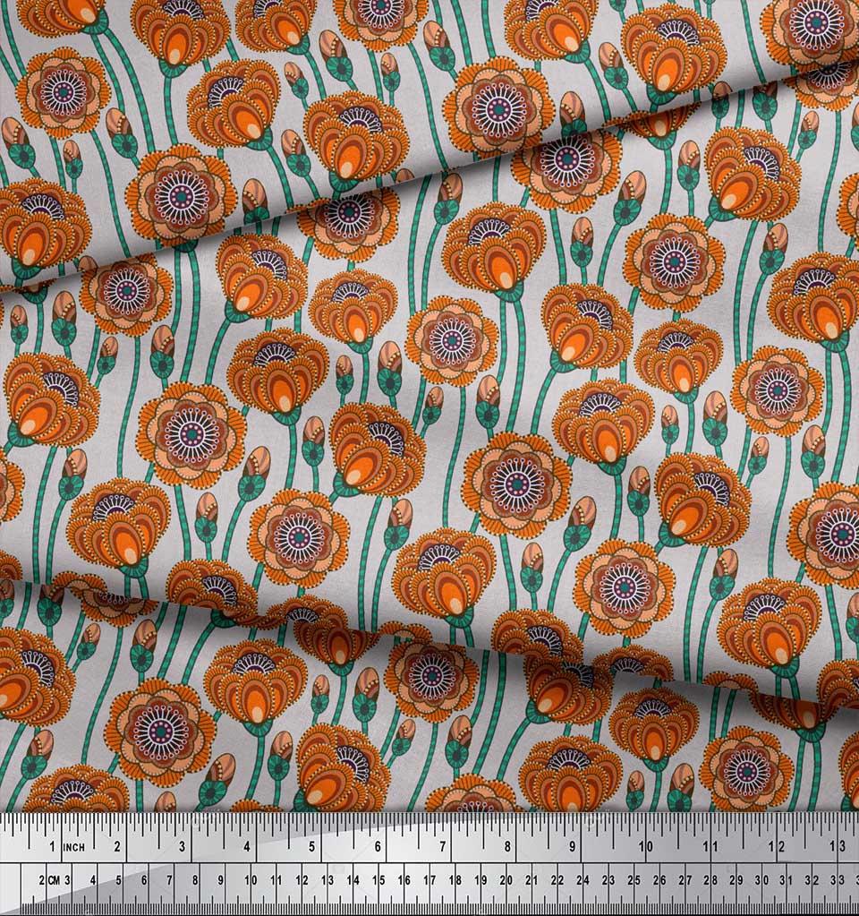 Soimoi-Grey-Cotton-Poplin-Fabric-Artistic-Floral-Print-Fabric-by-Wo9 thumbnail 4