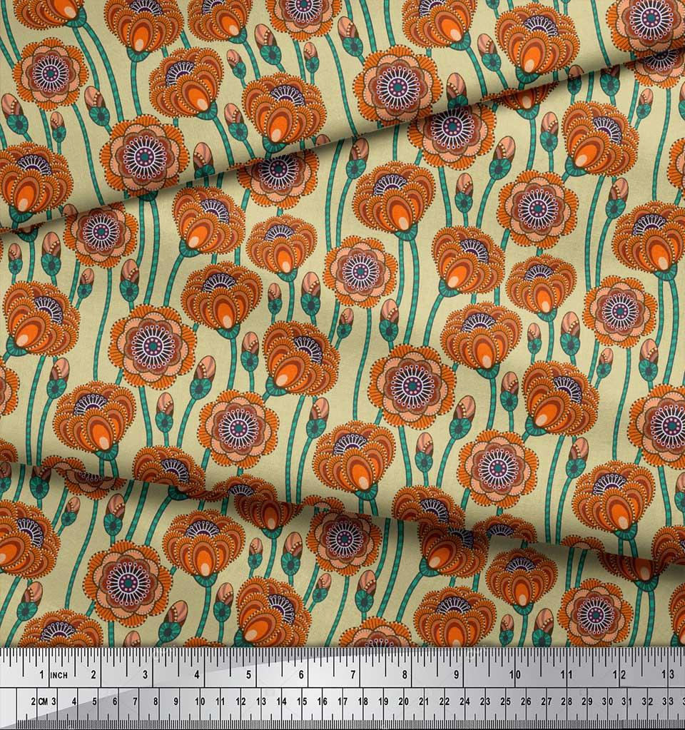 Soimoi-Beige-Cotton-Poplin-Fabric-Artistic-Floral-Fabric-Prints-9Vs thumbnail 3