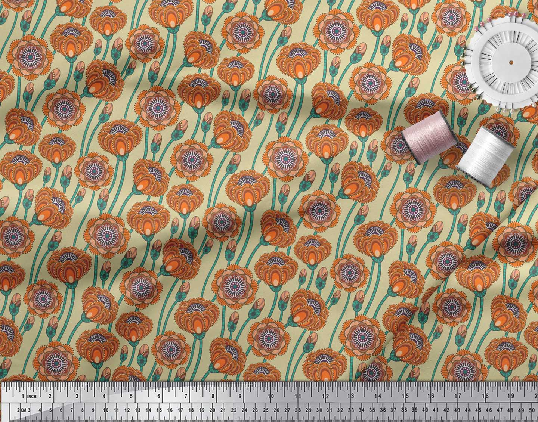 Soimoi-Beige-Cotton-Poplin-Fabric-Artistic-Floral-Fabric-Prints-9Vs thumbnail 4