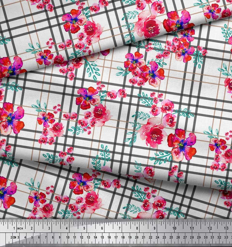 Soimoi-White-Cotton-Poplin-Fabric-Check-amp-Floral-Printed-Craft-Fabric-Pj2 thumbnail 3