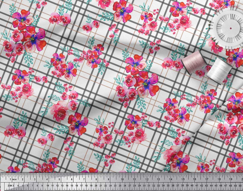 Soimoi-White-Cotton-Poplin-Fabric-Check-amp-Floral-Printed-Craft-Fabric-Pj2 thumbnail 4