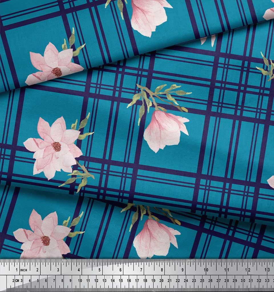 Soimoi-Blue-Cotton-Poplin-Fabric-Check-amp-Magnolia-Floral-Print-Fabric-X58 thumbnail 3