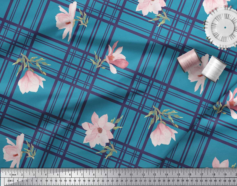 Soimoi-Blue-Cotton-Poplin-Fabric-Check-amp-Magnolia-Floral-Print-Fabric-X58 thumbnail 4