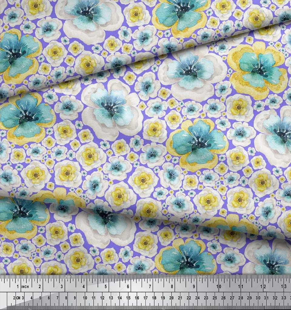 Soimoi-Purple-Cotton-Poplin-Fabric-Poppy-Floral-Decor-Fabric-Printed-zyq thumbnail 3