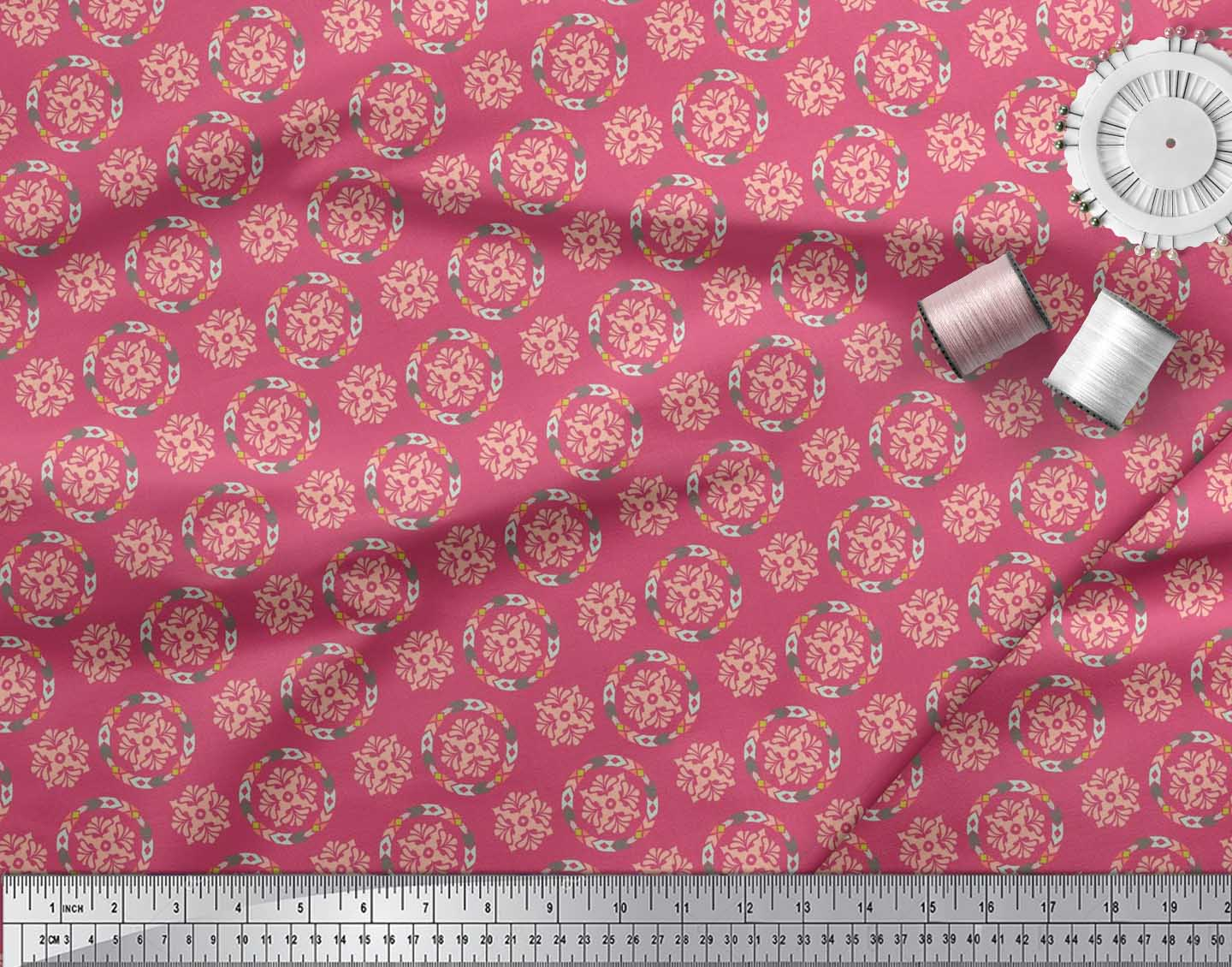 Soimoi-Pink-Cotton-Poplin-Fabric-Artistic-Floral-Decor-Fabric-Printed-3MW thumbnail 3