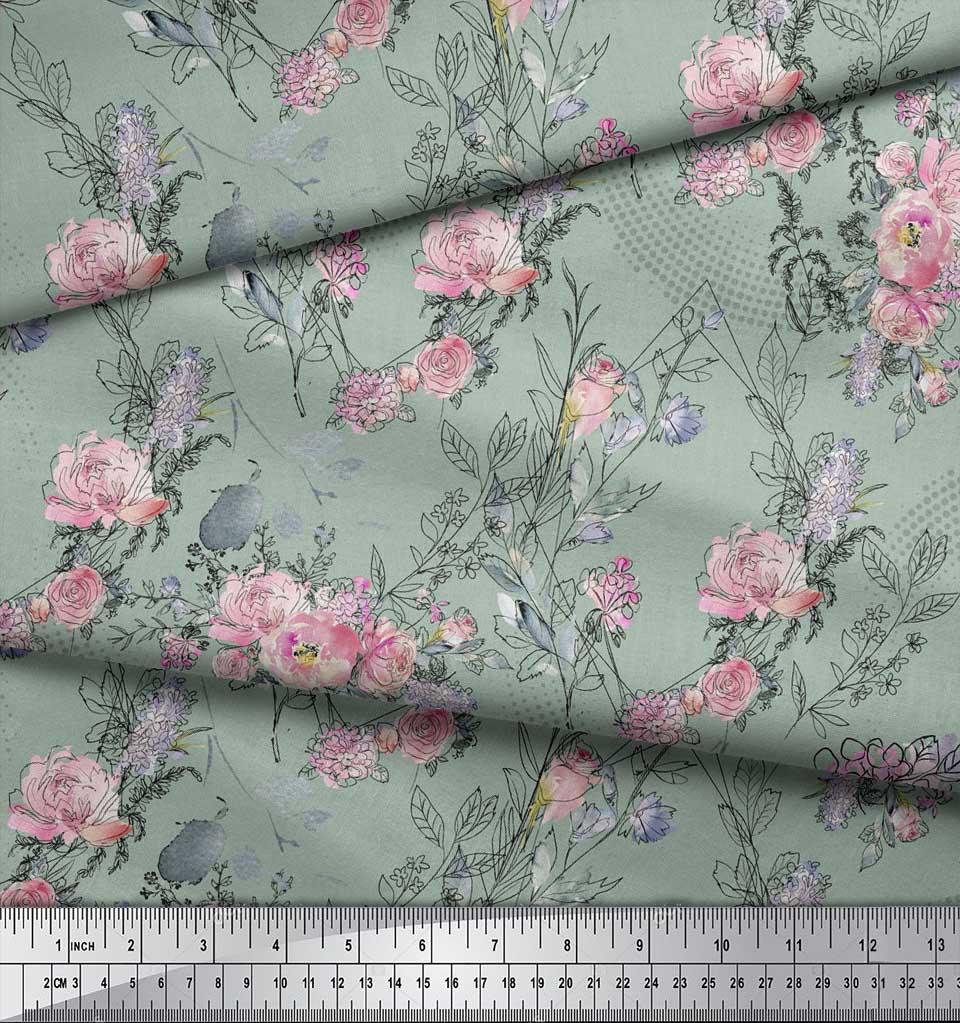 Soimoi-Green-Cotton-Poplin-Fabric-Blossom-amp-Peony-Floral-Print-Sewing-2oD thumbnail 3