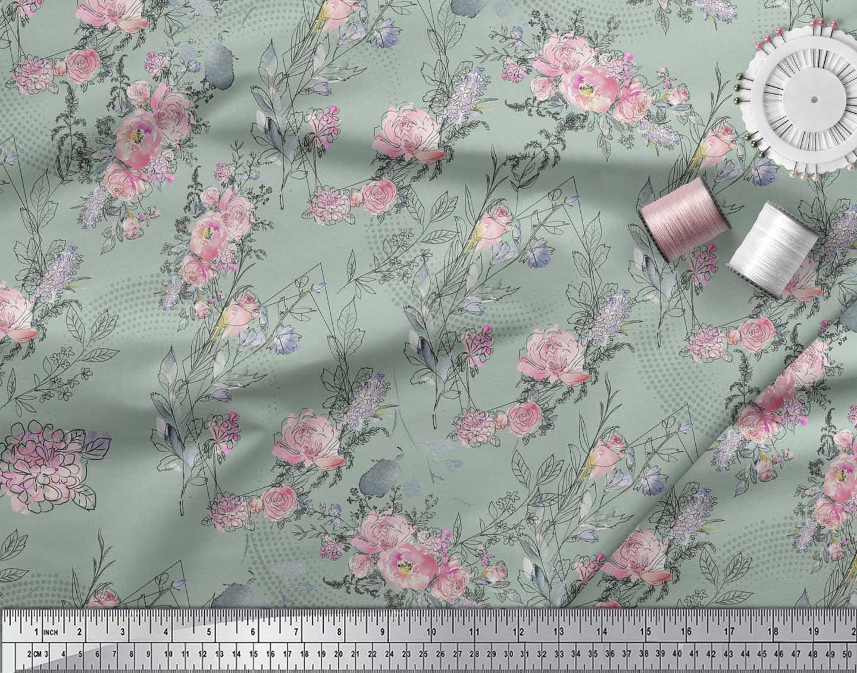 Soimoi-Green-Cotton-Poplin-Fabric-Blossom-amp-Peony-Floral-Print-Sewing-2oD thumbnail 4