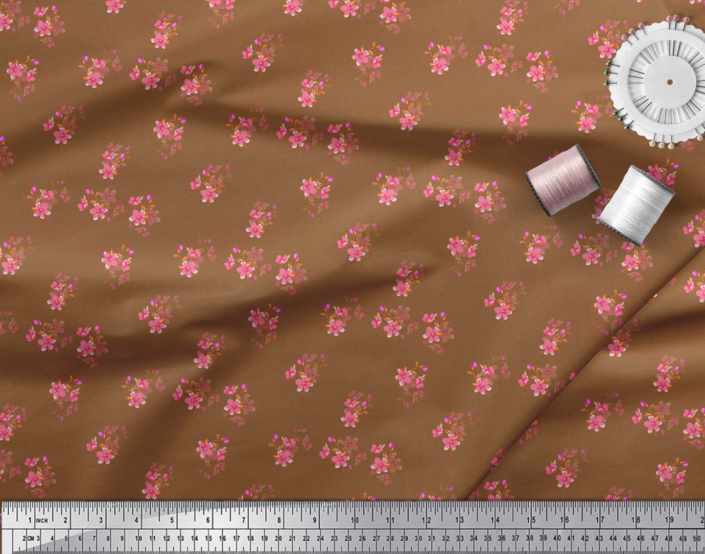 Soimoi-Brown-Cotton-Poplin-Fabric-Leaves-amp-Periwinkle-Floral-Printed-vOd thumbnail 3