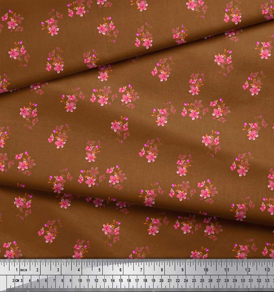 Soimoi-Brown-Cotton-Poplin-Fabric-Leaves-amp-Periwinkle-Floral-Printed-vOd thumbnail 4