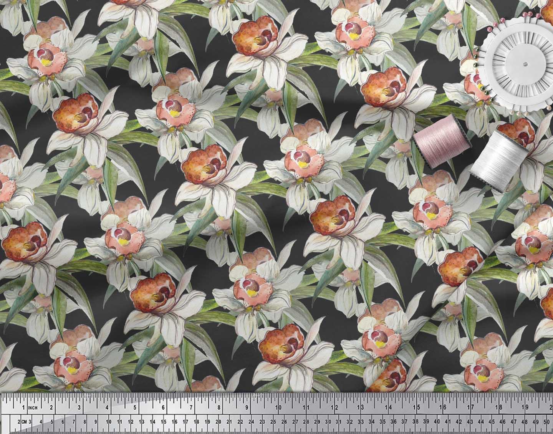 Soimoi-Black-Cotton-Poplin-Fabric-Leaves-amp-Daffodil-Floral-Print-4O7 thumbnail 3