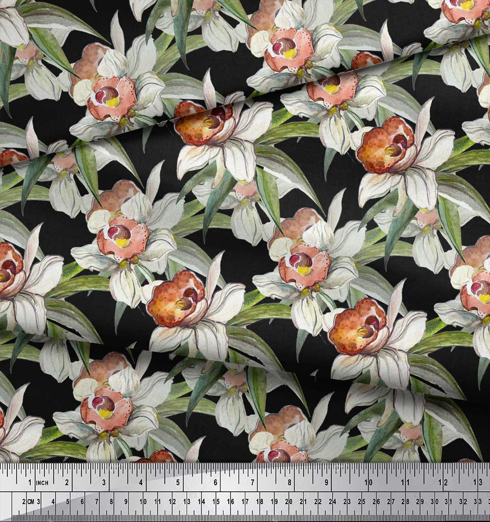 Soimoi-Black-Cotton-Poplin-Fabric-Leaves-amp-Daffodil-Floral-Print-4O7 thumbnail 4