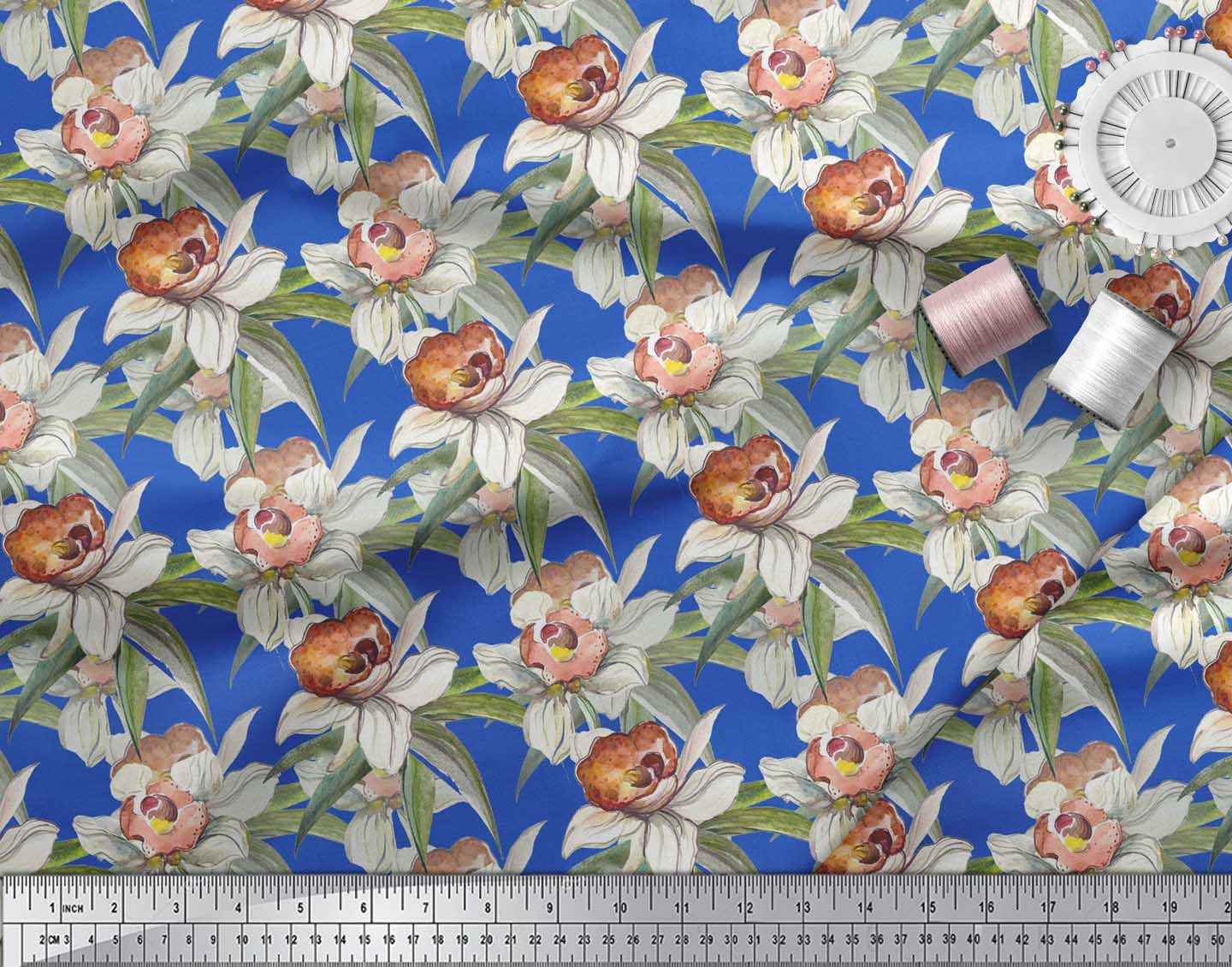 Soimoi-Blue-Cotton-Poplin-Fabric-Leaves-amp-Daffodil-Floral-Print-PgX thumbnail 3