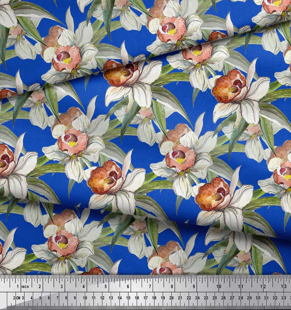 Soimoi-Blue-Cotton-Poplin-Fabric-Leaves-amp-Daffodil-Floral-Print-PgX thumbnail 4