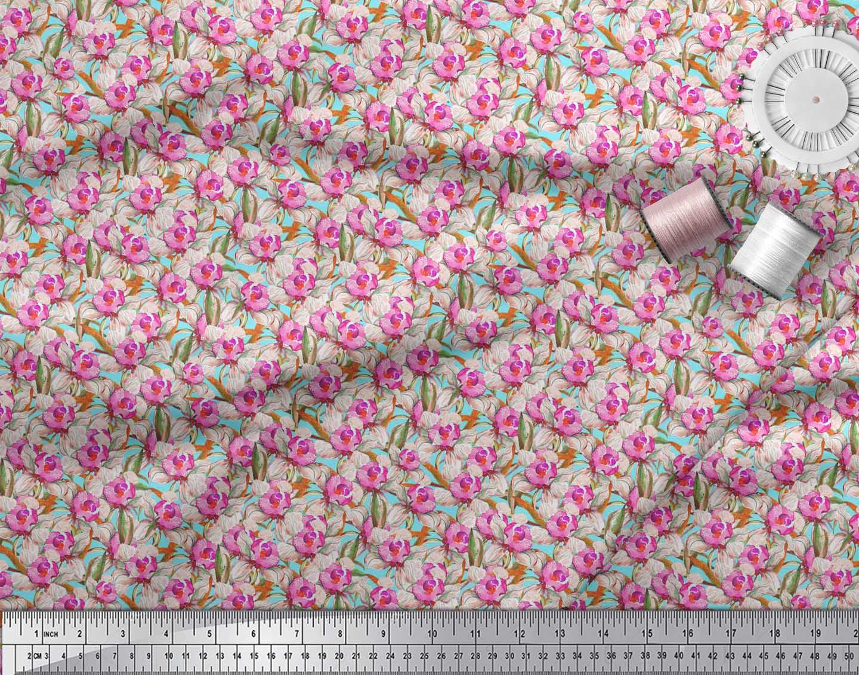 Soimoi-Blue-Cotton-Poplin-Fabric-Leaves-amp-Daffodil-Floral-Printed-w9U thumbnail 3