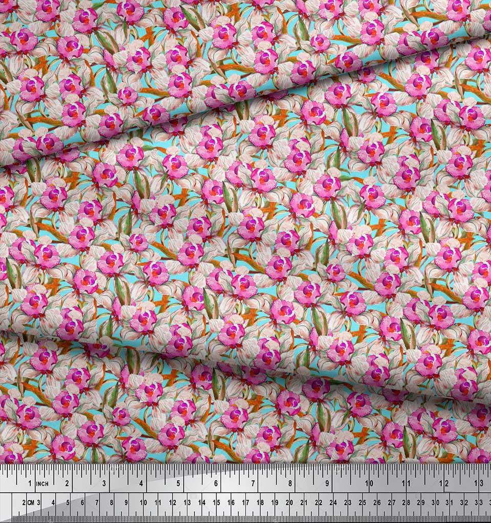 Soimoi-Blue-Cotton-Poplin-Fabric-Leaves-amp-Daffodil-Floral-Printed-w9U thumbnail 4