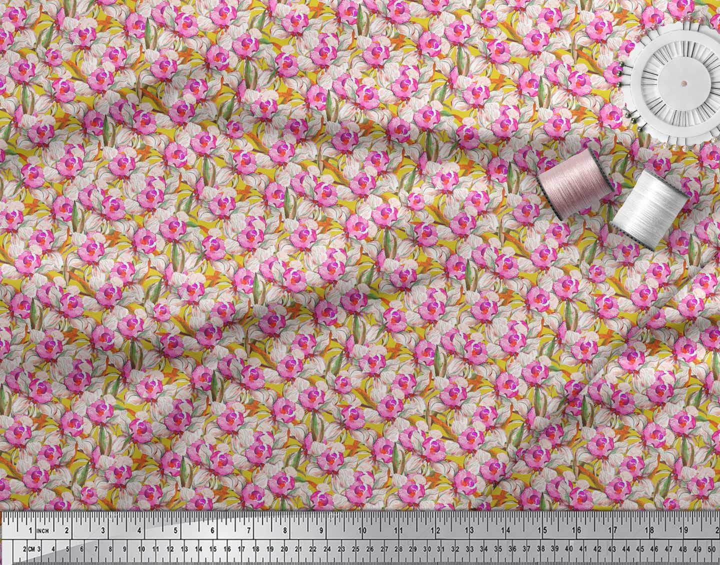 Soimoi-Yellow-Cotton-Poplin-Fabric-Leaves-amp-Daffodil-Floral-Decor-ypQ thumbnail 3