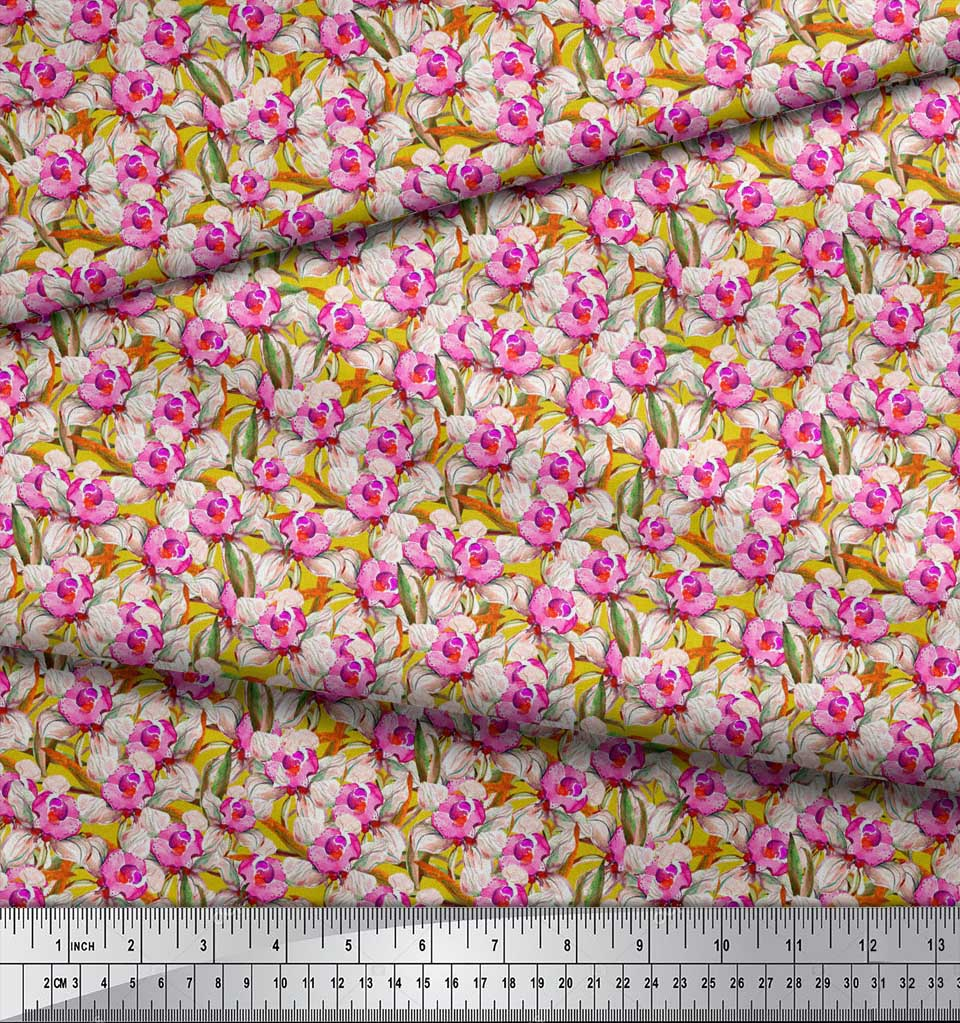 Soimoi-Yellow-Cotton-Poplin-Fabric-Leaves-amp-Daffodil-Floral-Decor-ypQ thumbnail 4