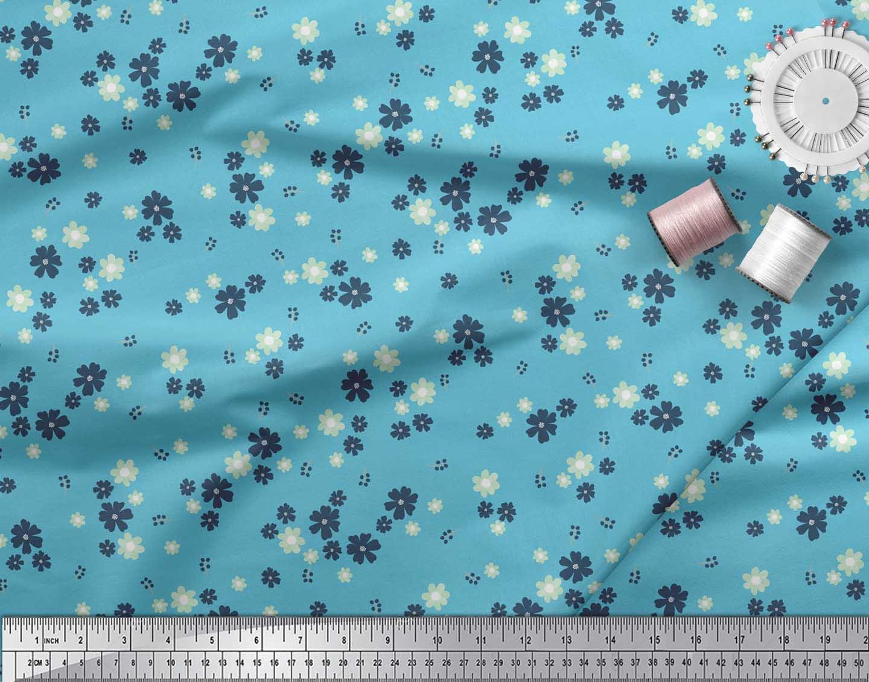 Soimoi-Blue-Cotton-Poplin-Fabric-Artistic-Floral-Printed-Fabric-Jpn thumbnail 4