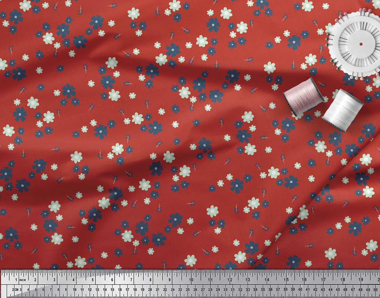 Soimoi-Red-Cotton-Poplin-Fabric-Artistic-Floral-Printed-Fabric-1-ELR thumbnail 3