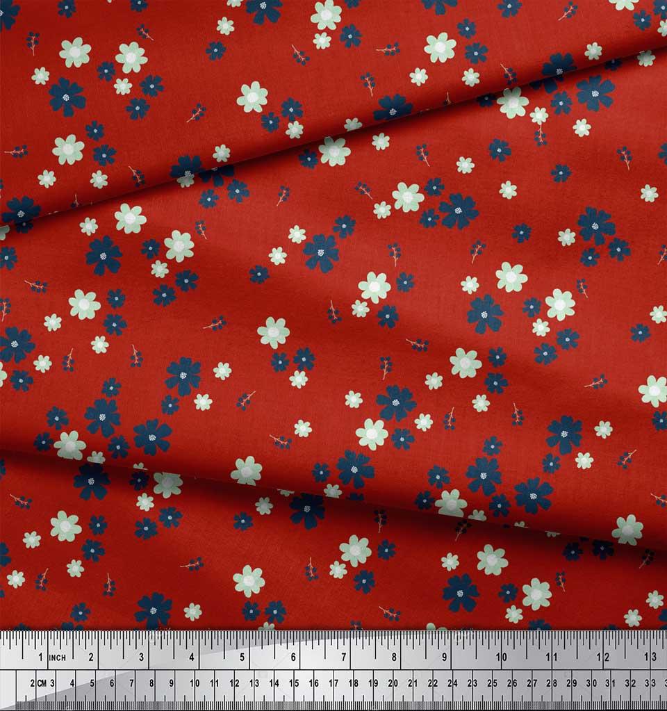 Soimoi-Red-Cotton-Poplin-Fabric-Artistic-Floral-Printed-Fabric-1-ELR thumbnail 4