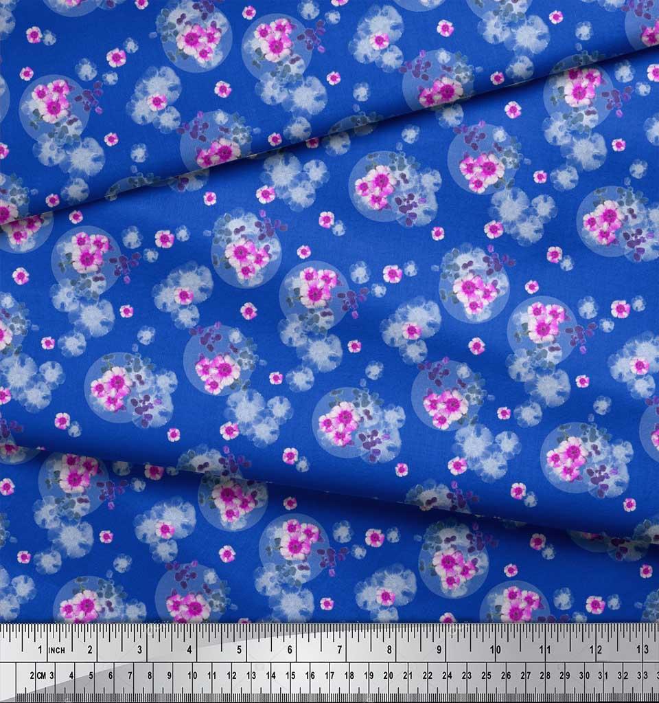 Soimoi-Blue-Cotton-Poplin-Fabric-Leaves-amp-Periwinkle-Floral-Print-ZhJ thumbnail 3