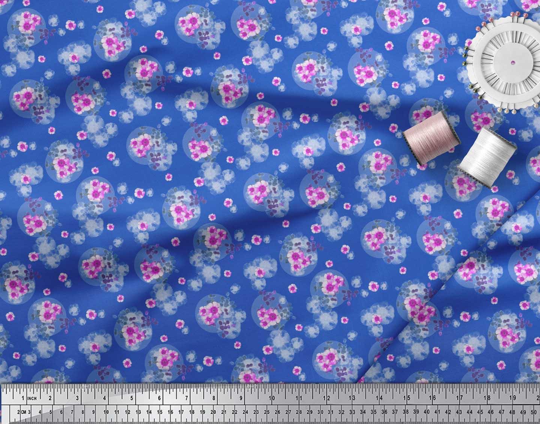 Soimoi-Blue-Cotton-Poplin-Fabric-Leaves-amp-Periwinkle-Floral-Print-ZhJ thumbnail 4