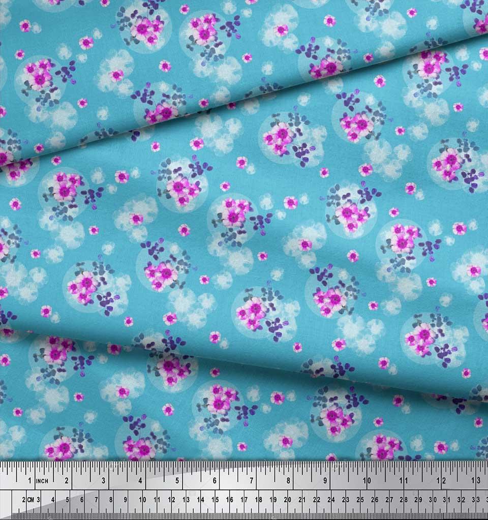 Soimoi-Blue-Cotton-Poplin-Fabric-Leaves-amp-Periwinkle-Floral-Decor-DwP thumbnail 3