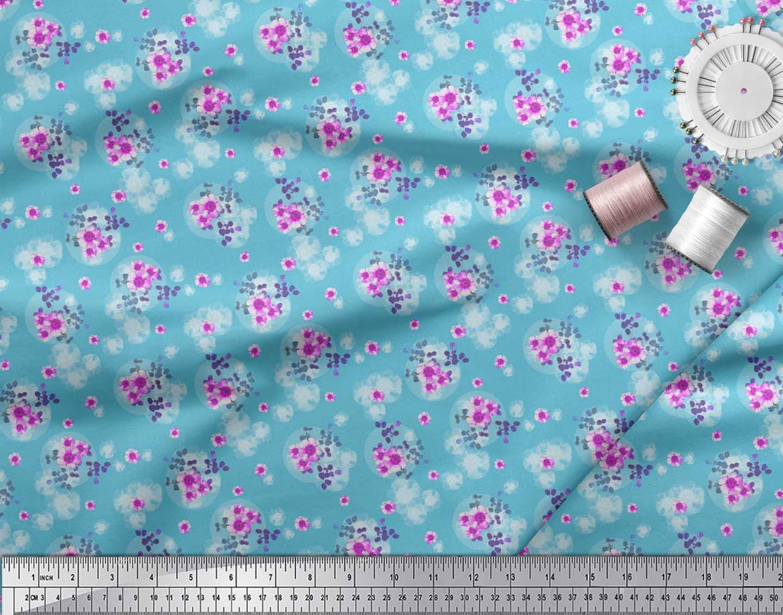 Soimoi-Blue-Cotton-Poplin-Fabric-Leaves-amp-Periwinkle-Floral-Decor-DwP thumbnail 4