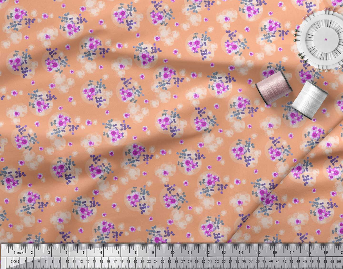 Soimoi-Orange-Cotton-Poplin-Fabric-Leaves-amp-Periwinkle-Floral-Print-laD thumbnail 4