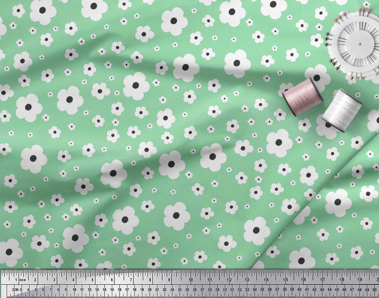 Soimoi-Green-Cotton-Poplin-Fabric-Artistic-Floral-Fabric-Prints-TK6 thumbnail 3
