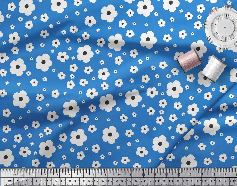 Soimoi-Blue-Cotton-Poplin-Fabric-Artistic-Floral-Decor-Fabric-Printed-QlC thumbnail 3