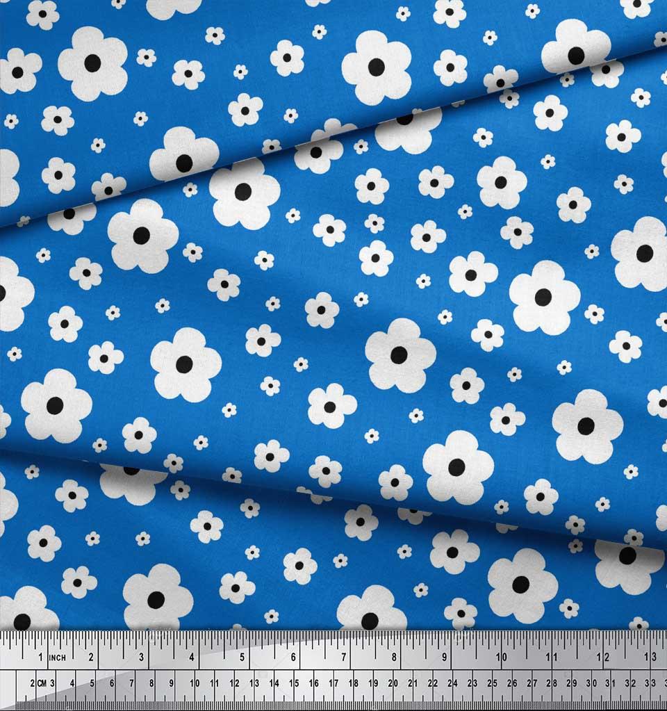 Soimoi-Blue-Cotton-Poplin-Fabric-Artistic-Floral-Decor-Fabric-Printed-QlC thumbnail 4