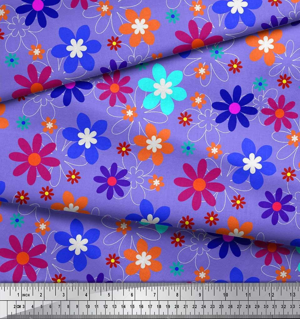 Soimoi-Purple-Cotton-Poplin-Fabric-Artistic-Floral-Decor-Fabric-6fJ thumbnail 3