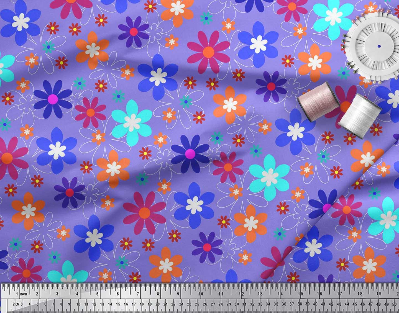Soimoi-Purple-Cotton-Poplin-Fabric-Artistic-Floral-Decor-Fabric-6fJ thumbnail 4