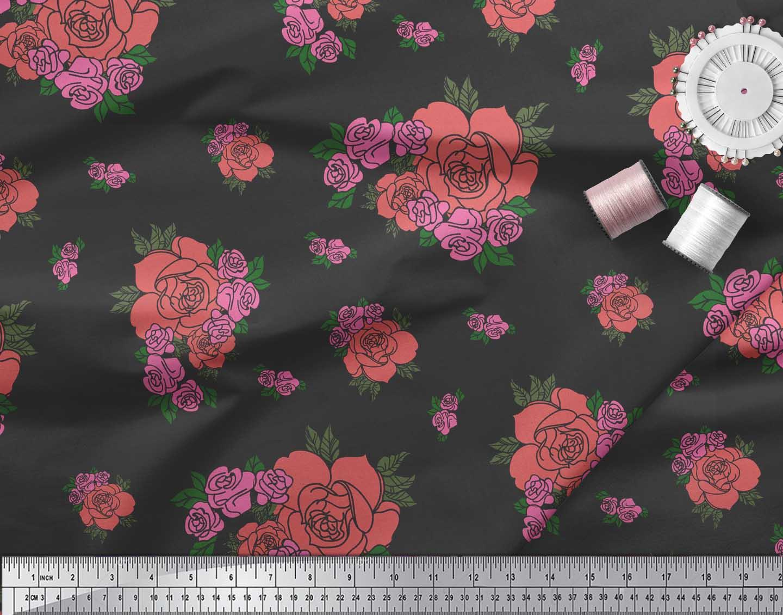Soimoi-Black-Cotton-Poplin-Fabric-Leaves-amp-Rose-Floral-Printed-Fabric-diV thumbnail 3