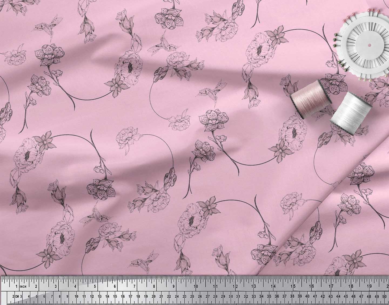 Soimoi-Pink-Cotton-Poplin-Fabric-Flower-Floral-Print-Fabric-by-metre-ZwC thumbnail 4