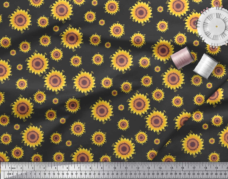 Soimoi-Black-Cotton-Poplin-Fabric-Sunflower-Floral-Fabric-Prints-4nM thumbnail 3