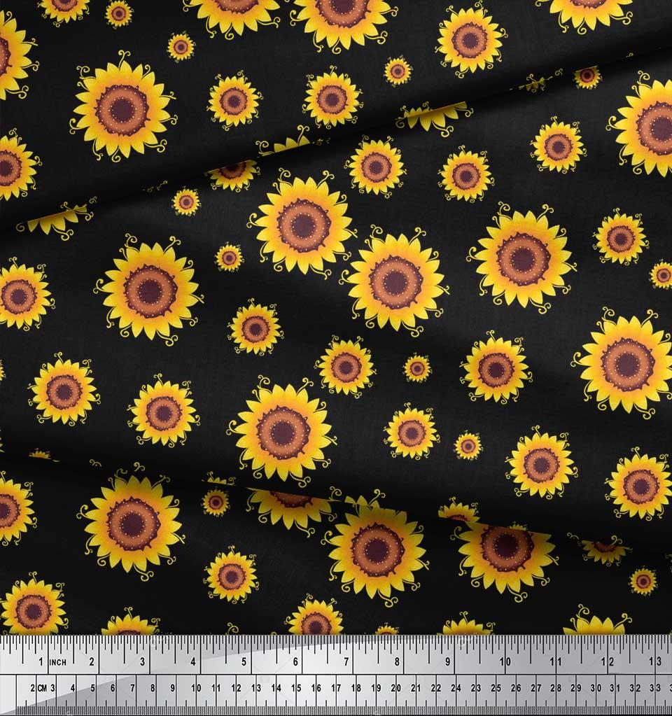 Soimoi-Black-Cotton-Poplin-Fabric-Sunflower-Floral-Fabric-Prints-4nM thumbnail 4