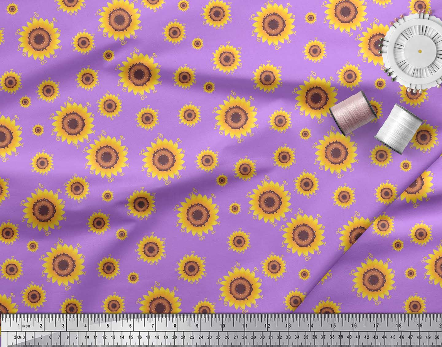 Soimoi-Purple-Cotton-Poplin-Fabric-Sunflower-Floral-Print-Fabric-Hwy thumbnail 3