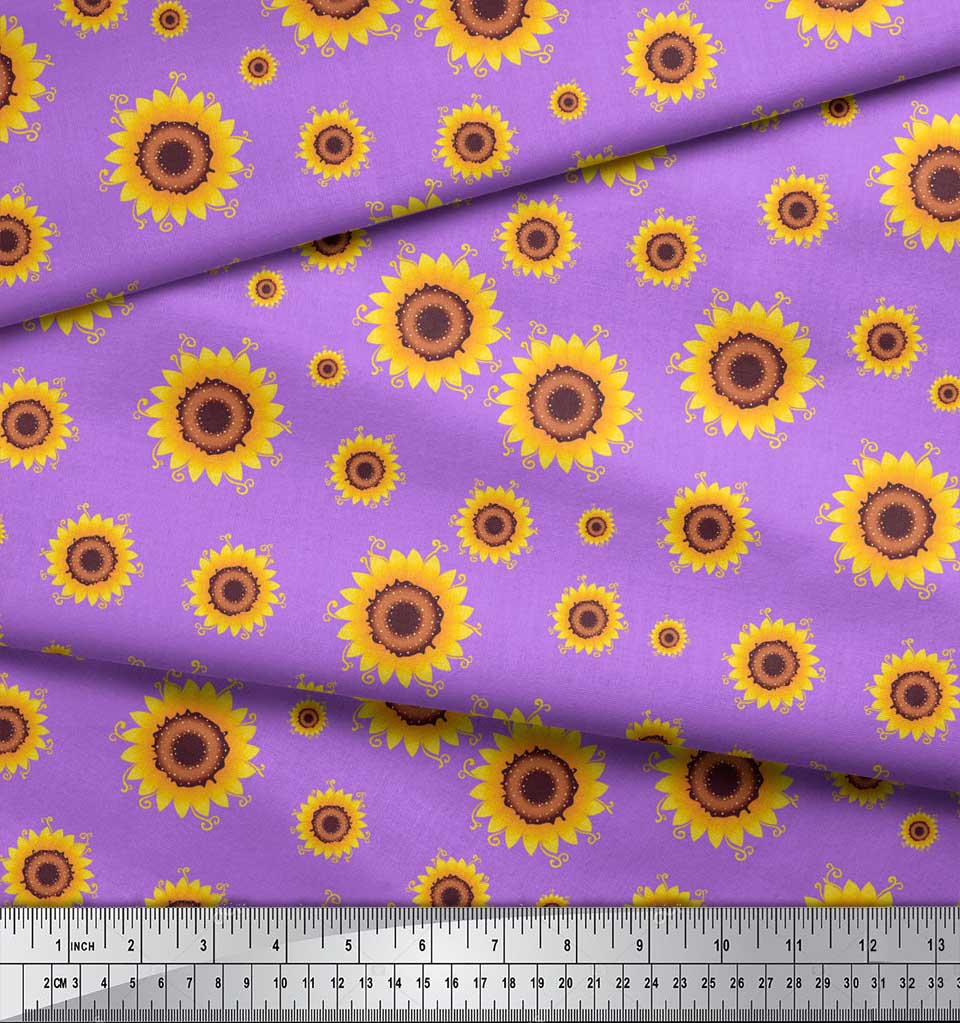 Soimoi-Purple-Cotton-Poplin-Fabric-Sunflower-Floral-Print-Fabric-Hwy thumbnail 4