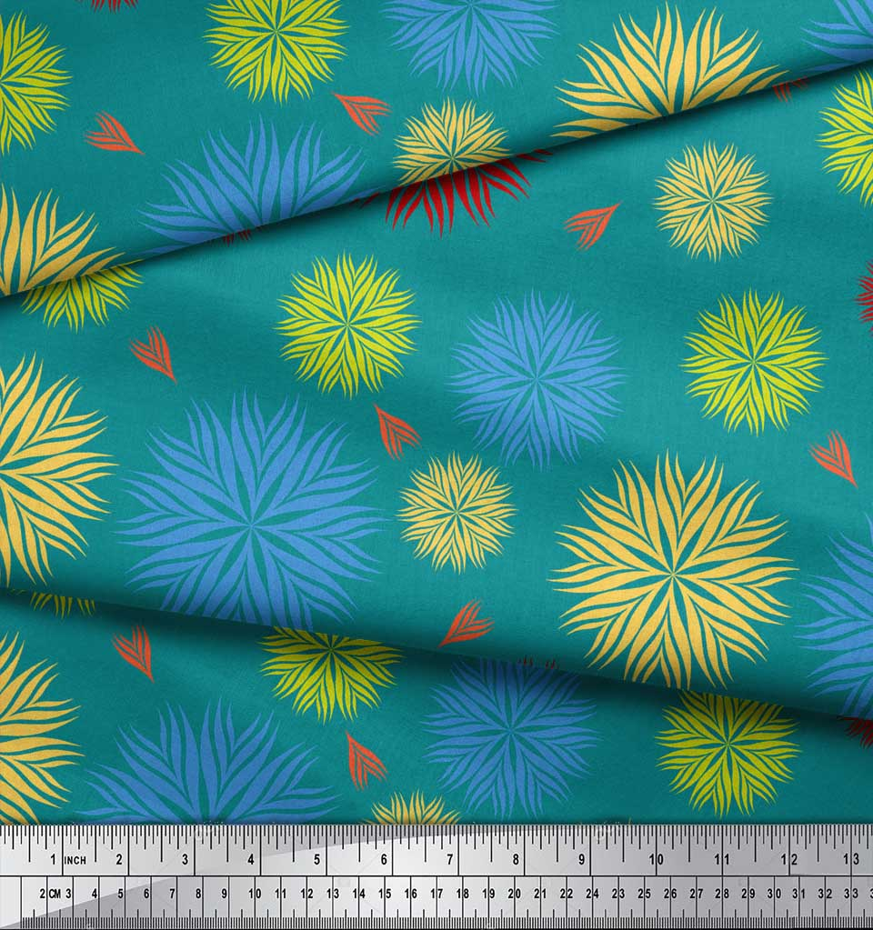 Soimoi-Green-Cotton-Poplin-Fabric-Artistic-Floral-Printed-Craft-tbu thumbnail 3