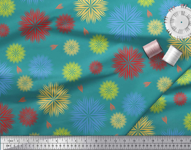 Soimoi-Green-Cotton-Poplin-Fabric-Artistic-Floral-Printed-Craft-tbu thumbnail 4