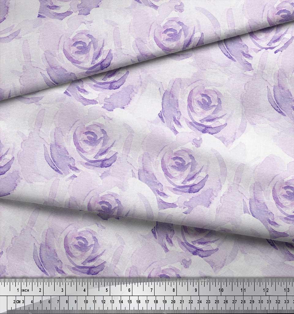 Soimoi-Purple-Cotton-Poplin-Fabric-Rose-Floral-Print-Fabric-by-Yard-q24 thumbnail 3